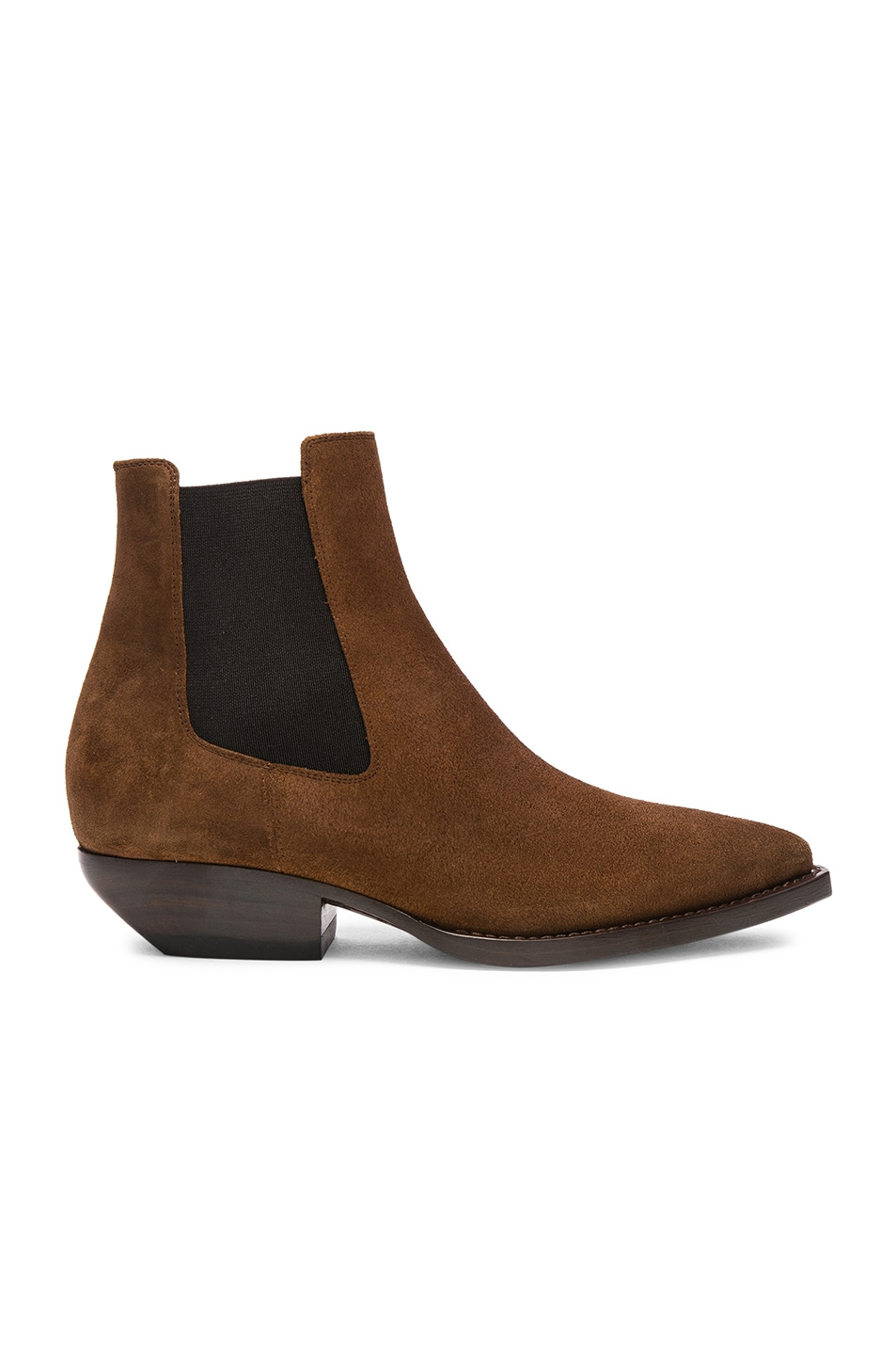 Image 1 of Saint Laurent Suede Theo Chelsea Boots in Caramel
