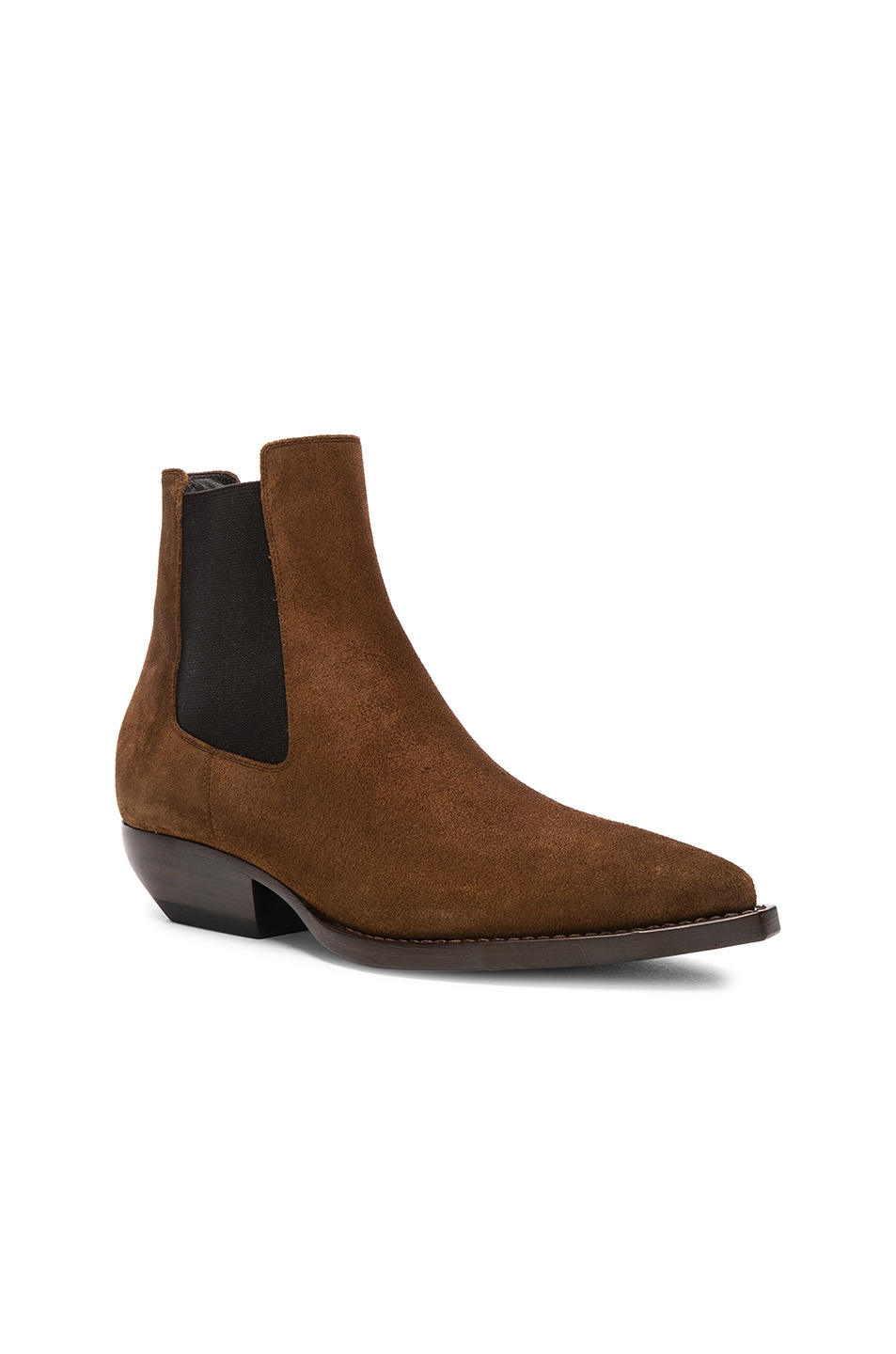 Image 2 of Saint Laurent Suede Theo Chelsea Boots in Caramel