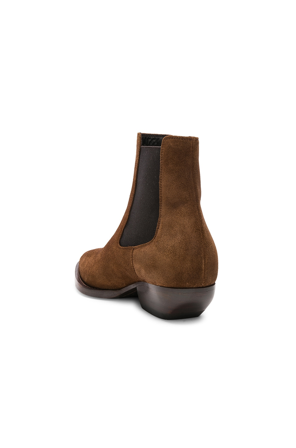 Image 3 of Saint Laurent Suede Theo Chelsea Boots in Caramel