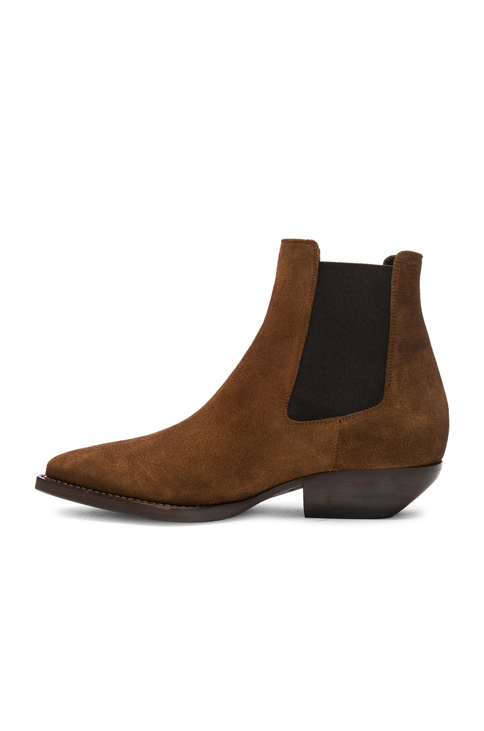 Image 5 of Saint Laurent Suede Theo Chelsea Boots in Caramel