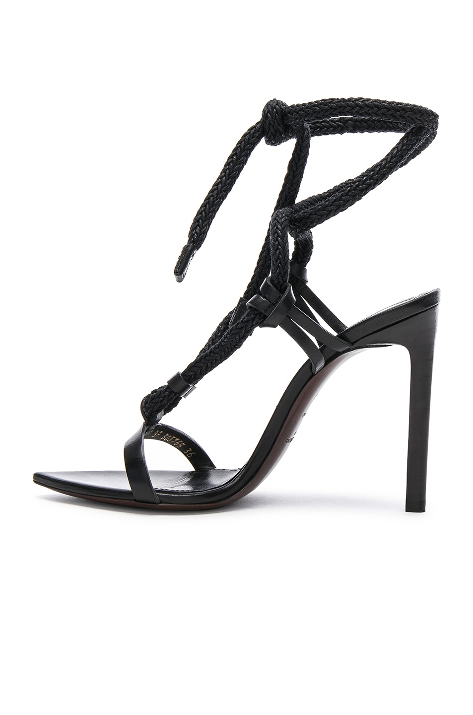 Image 5 of Saint Laurent Majorelle Leather Strappy Sandals in Black