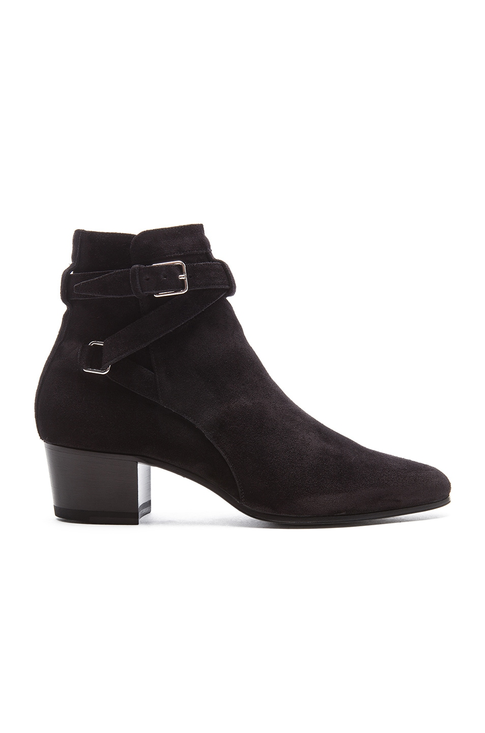 Image 1 of Saint Laurent Suede Blake Buckle Boots in Black