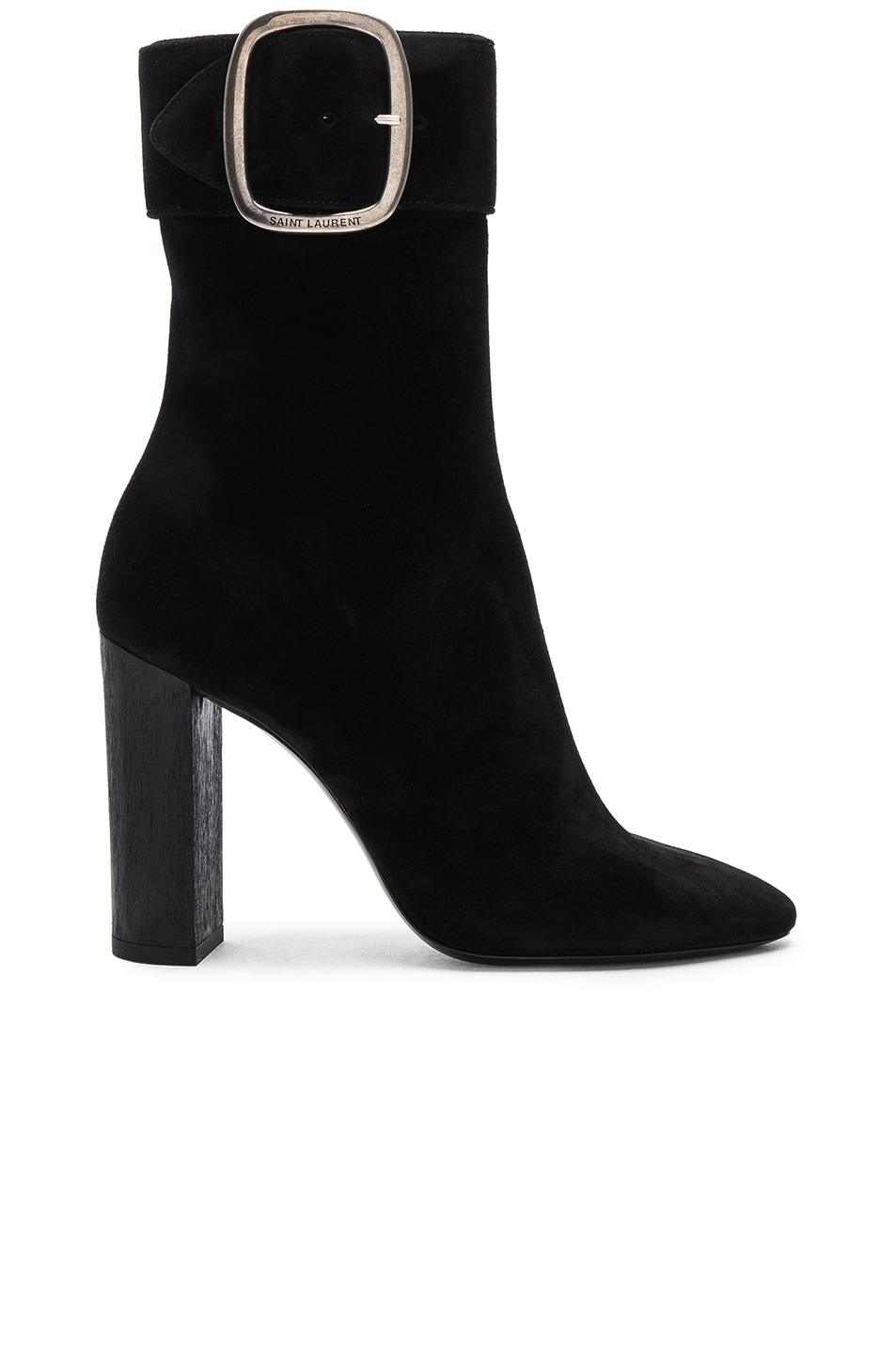 Image 1 of Saint Laurent Suede Joplin Buckle Boots in Black