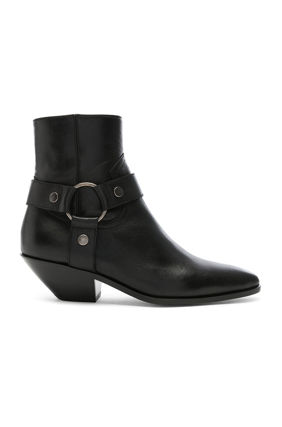 Saint Laurent Stiefeletten Cy500 Glattleder Metallisch Schwarz In Black