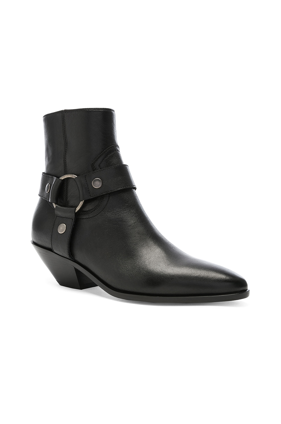 Image 2 of Saint Laurent West Strap Ankle Boots in Black