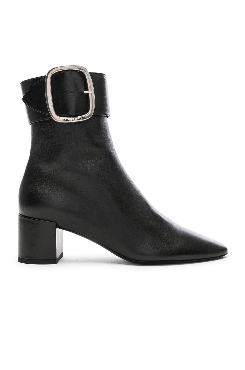 Image 1 of Saint Laurent Leather Joplin Buckle Ankle Boots in Black