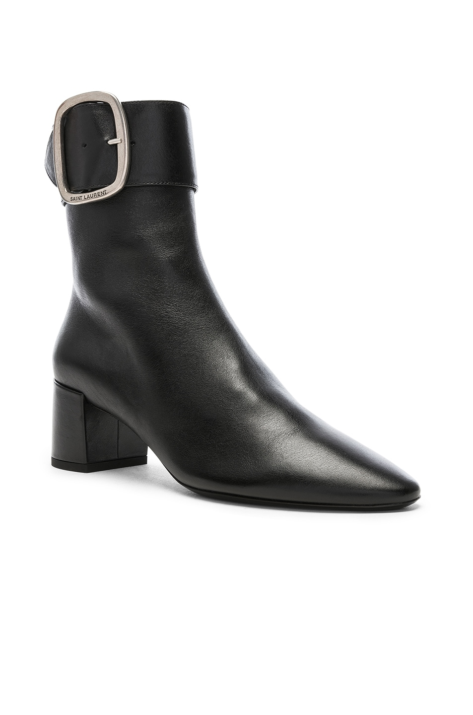 Image 2 of Saint Laurent Leather Joplin Buckle Ankle Boots in Black