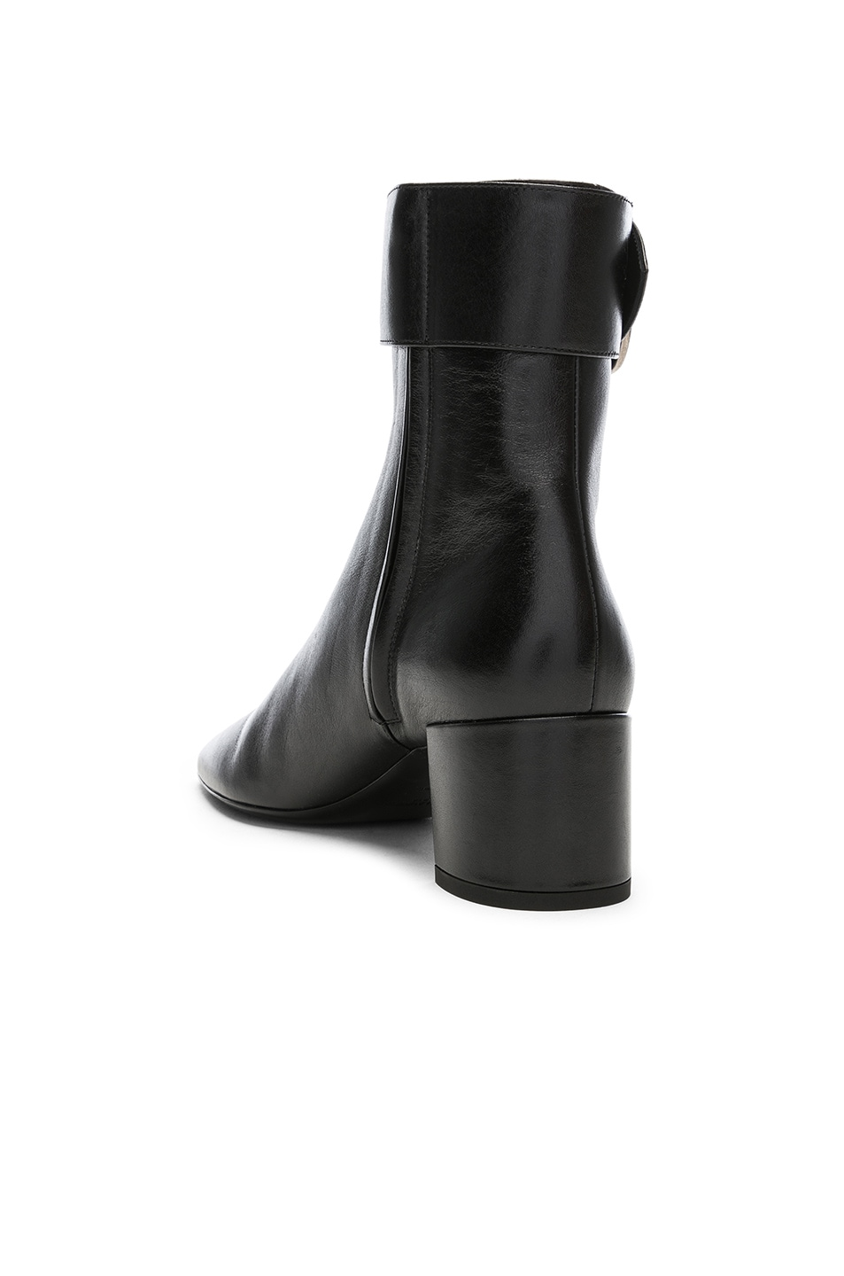 Image 3 of Saint Laurent Leather Joplin Buckle Ankle Boots in Black