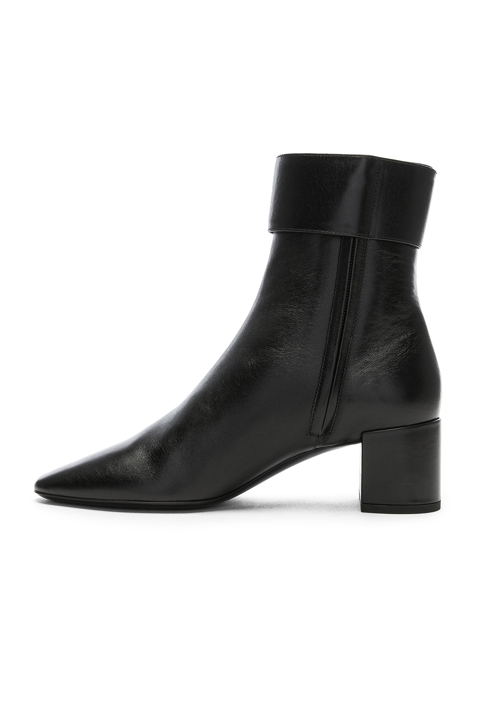 Image 5 of Saint Laurent Leather Joplin Buckle Ankle Boots in Black