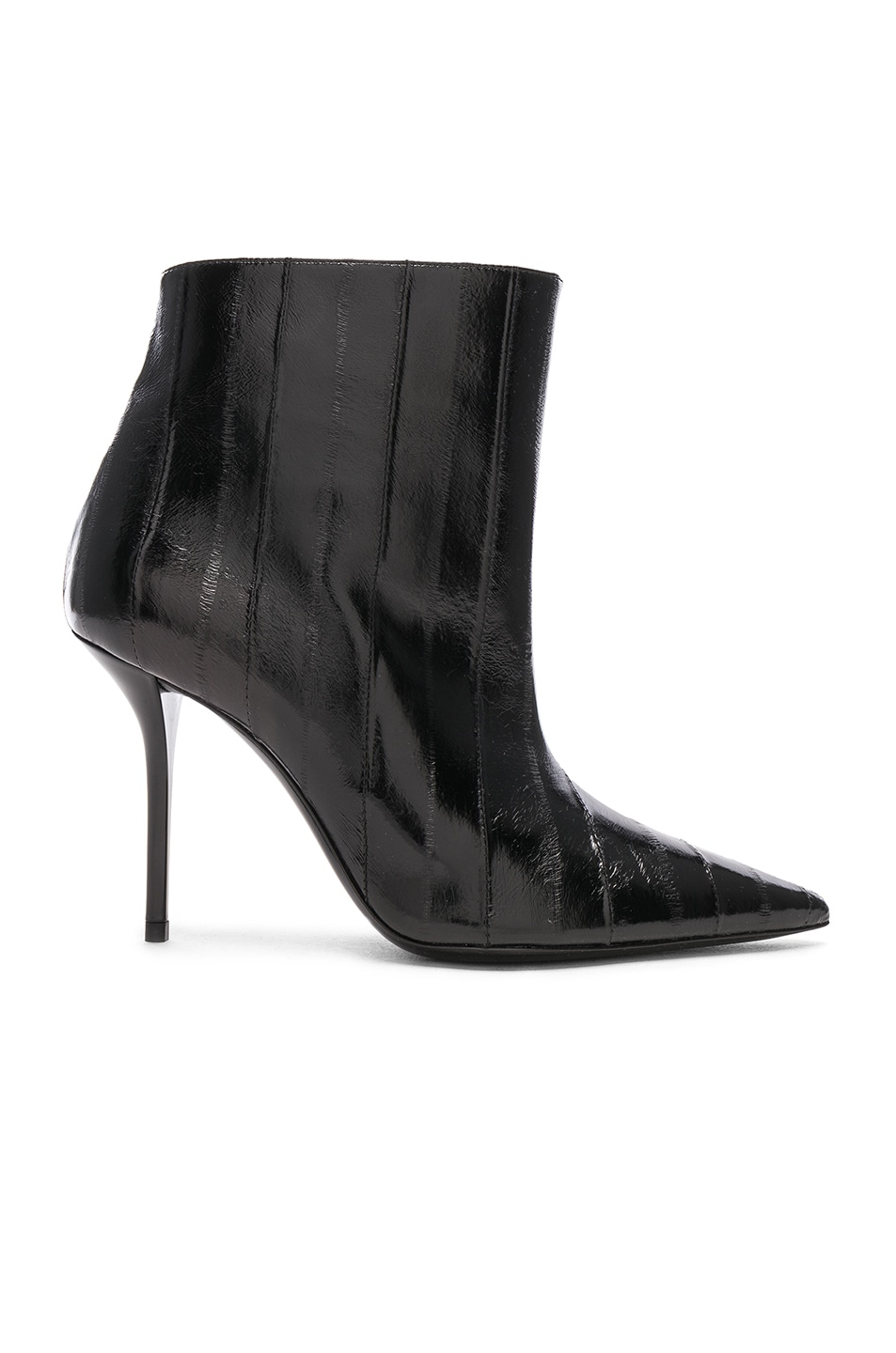 Image 1 of Saint Laurent Eel Leather Pierre Stiletto Ankle Boots in Black