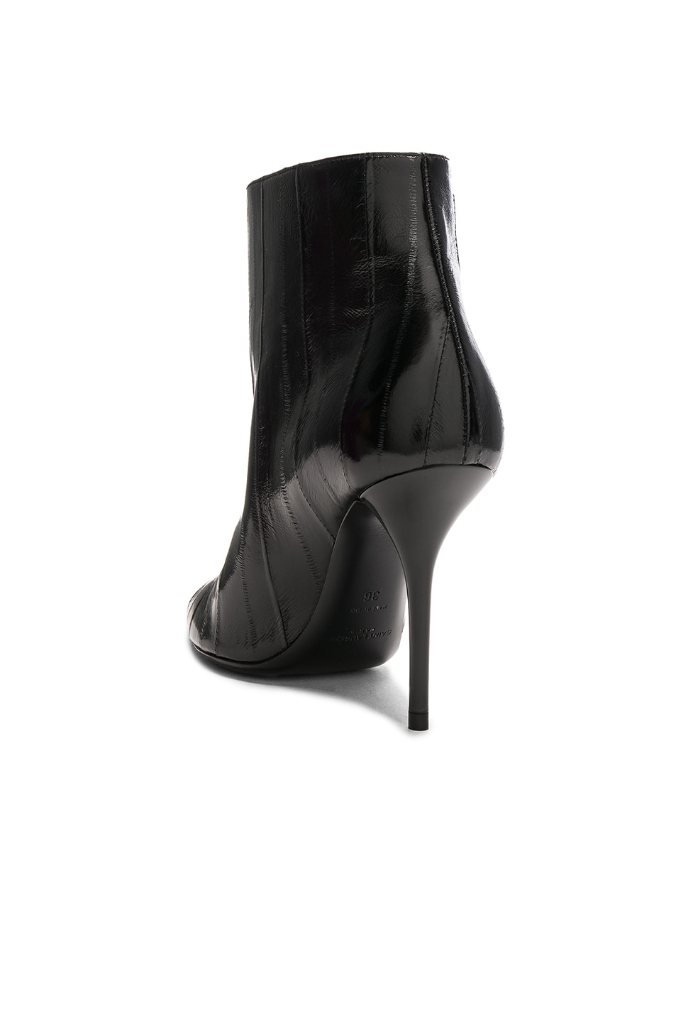 Image 3 of Saint Laurent Eel Leather Pierre Stiletto Ankle Boots in Black