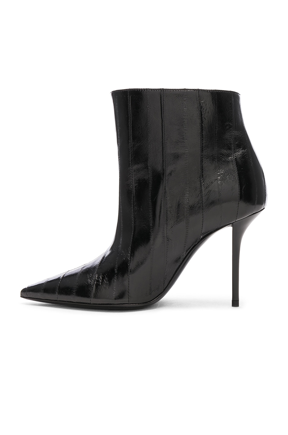 Image 5 of Saint Laurent Eel Leather Pierre Stiletto Ankle Boots in Black