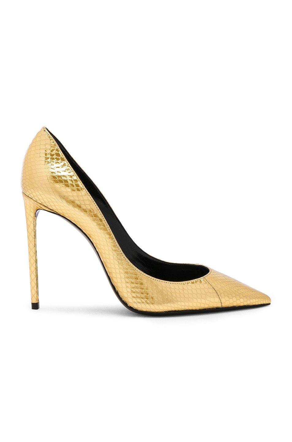 Image 1 of Saint Laurent Metallic Snakeskin Zoe Pumps in Gold