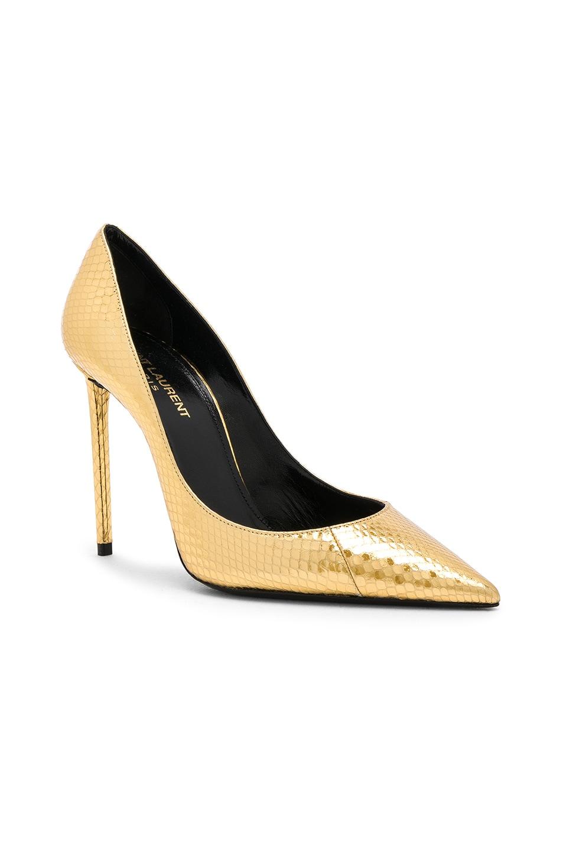 Image 2 of Saint Laurent Metallic Snakeskin Zoe Pumps in Gold