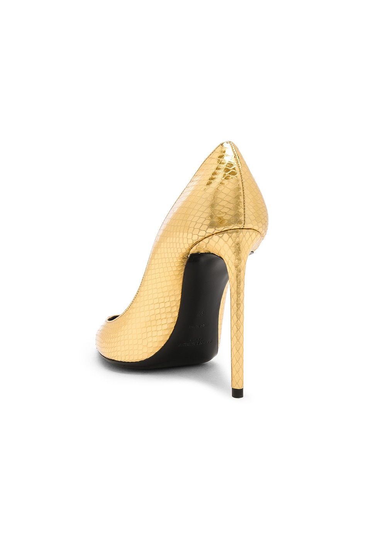 Image 3 of Saint Laurent Metallic Snakeskin Zoe Pumps in Gold