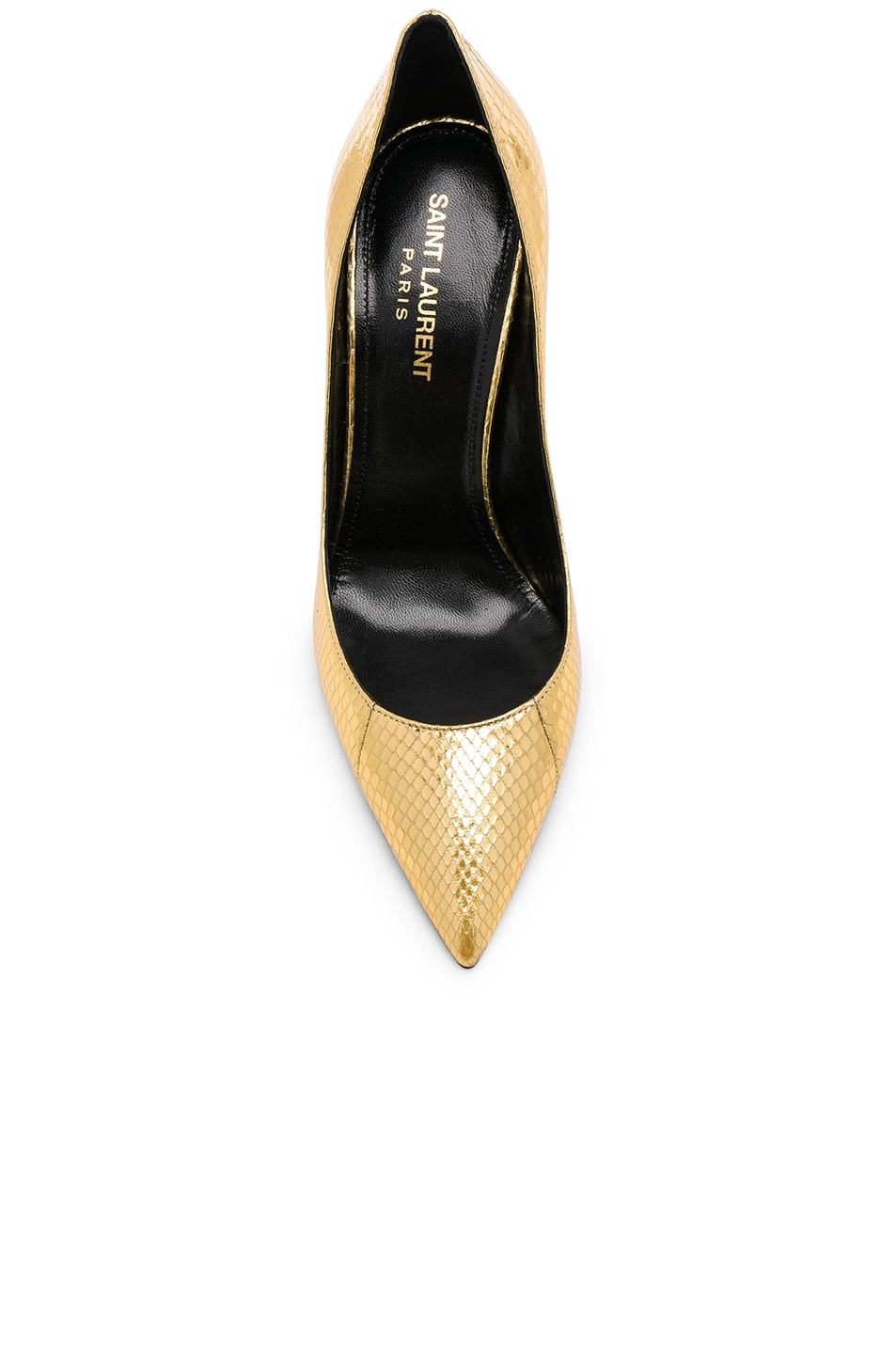 Image 4 of Saint Laurent Metallic Snakeskin Zoe Pumps in Gold