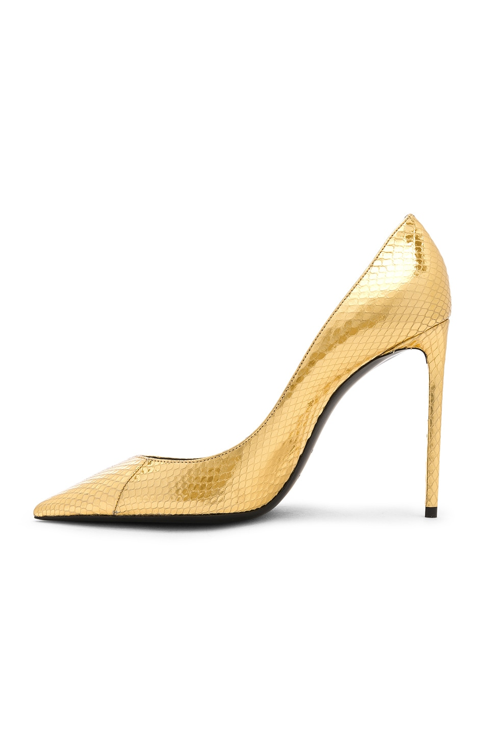 Image 5 of Saint Laurent Metallic Snakeskin Zoe Pumps in Gold