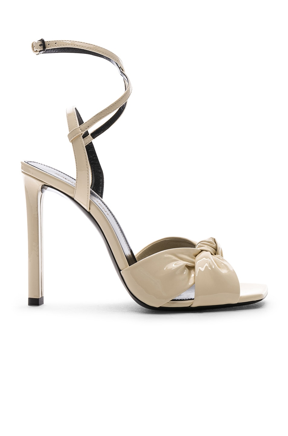 Image 1 of Saint Laurent Patent Amy Ankle Strap Sandals in Porcelain