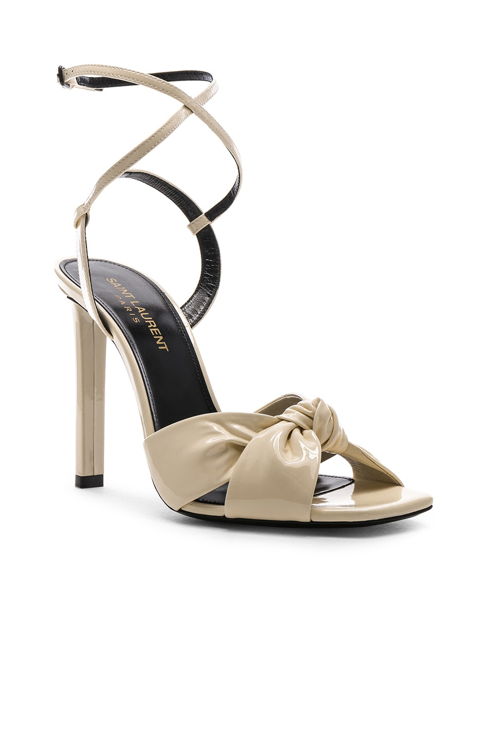 Image 2 of Saint Laurent Patent Amy Ankle Strap Sandals in Porcelain