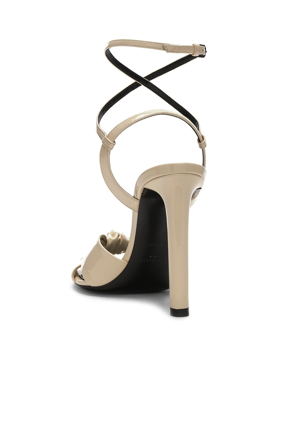 Image 3 of Saint Laurent Patent Amy Ankle Strap Sandals in Porcelain
