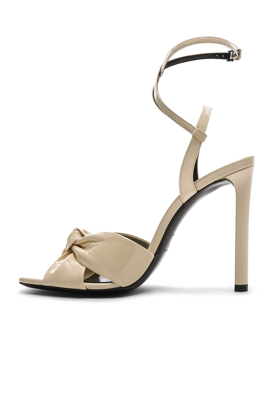 Image 5 of Saint Laurent Patent Amy Ankle Strap Sandals in Porcelain
