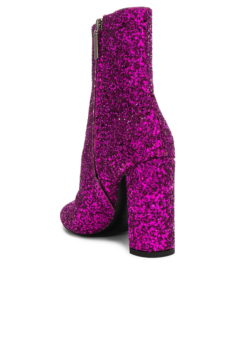 Image 3 of Saint Laurent Glitter Lou Ankle Boots in Fuchsia