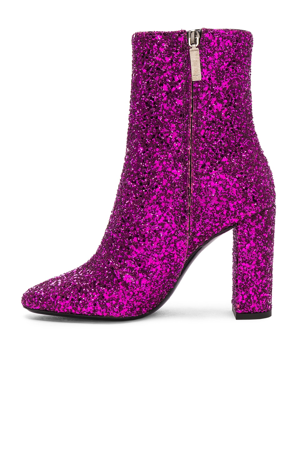 Image 5 of Saint Laurent Glitter Lou Ankle Boots in Fuchsia