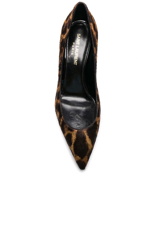 Image 4 of Saint Laurent Leopard Print Pony Hair Charlotte Kitten Heels in Natural & Black