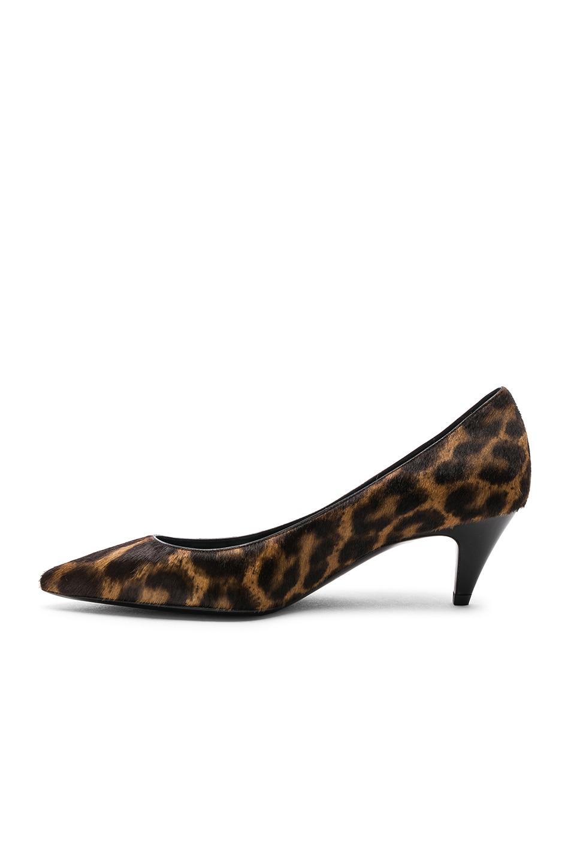 Image 5 of Saint Laurent Leopard Print Pony Hair Charlotte Kitten Heels in Natural & Black