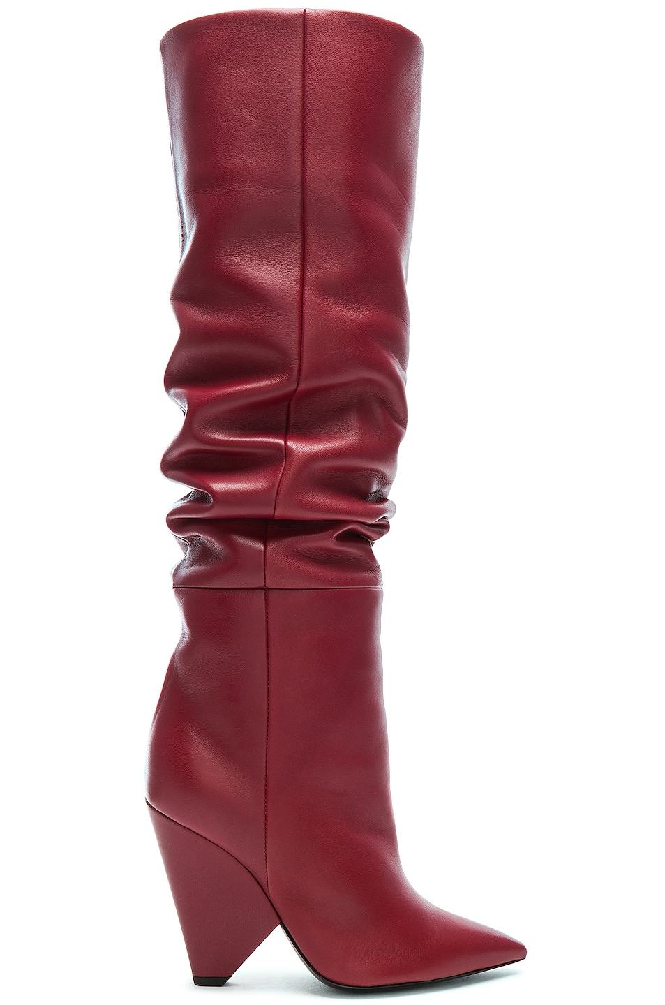Saint Laurent Niki Thigh High Boots In Red