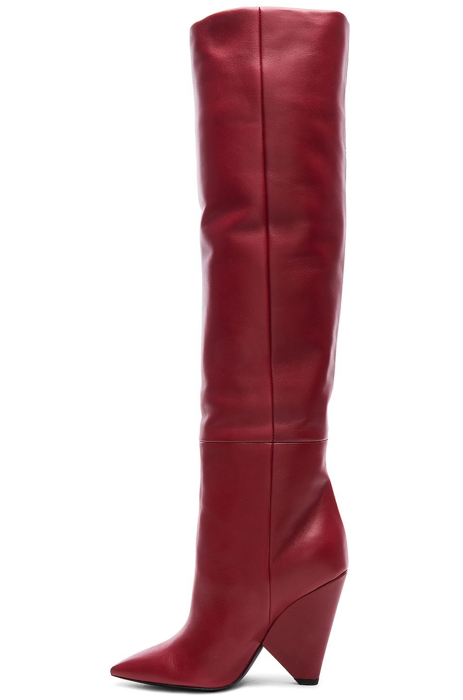 Image 6 of Saint Laurent Niki Thigh High Boots in Hot Red
