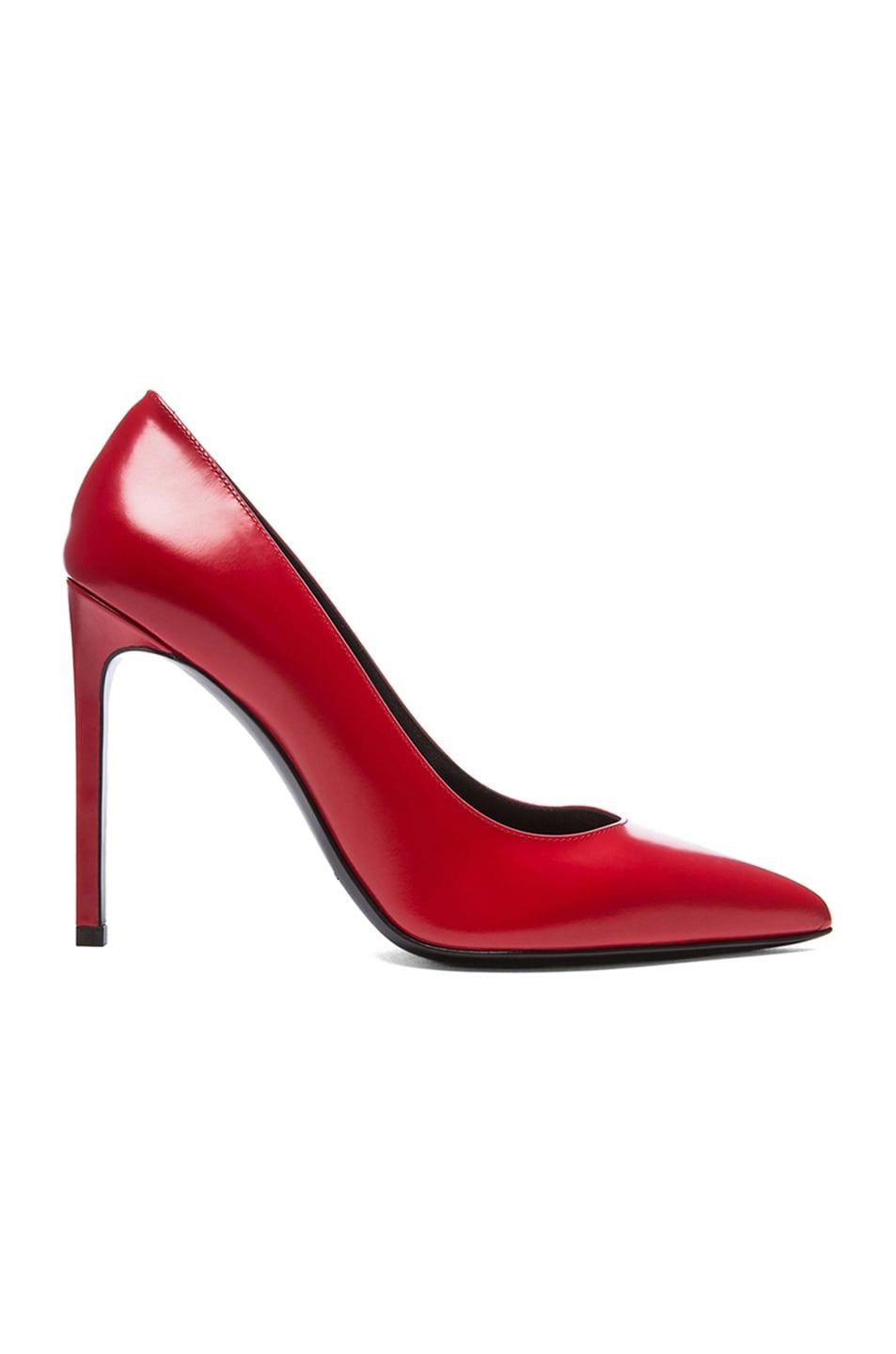 Image 1 of Saint Laurent Paris Calfskin Leather Pumps in Lipstick Red