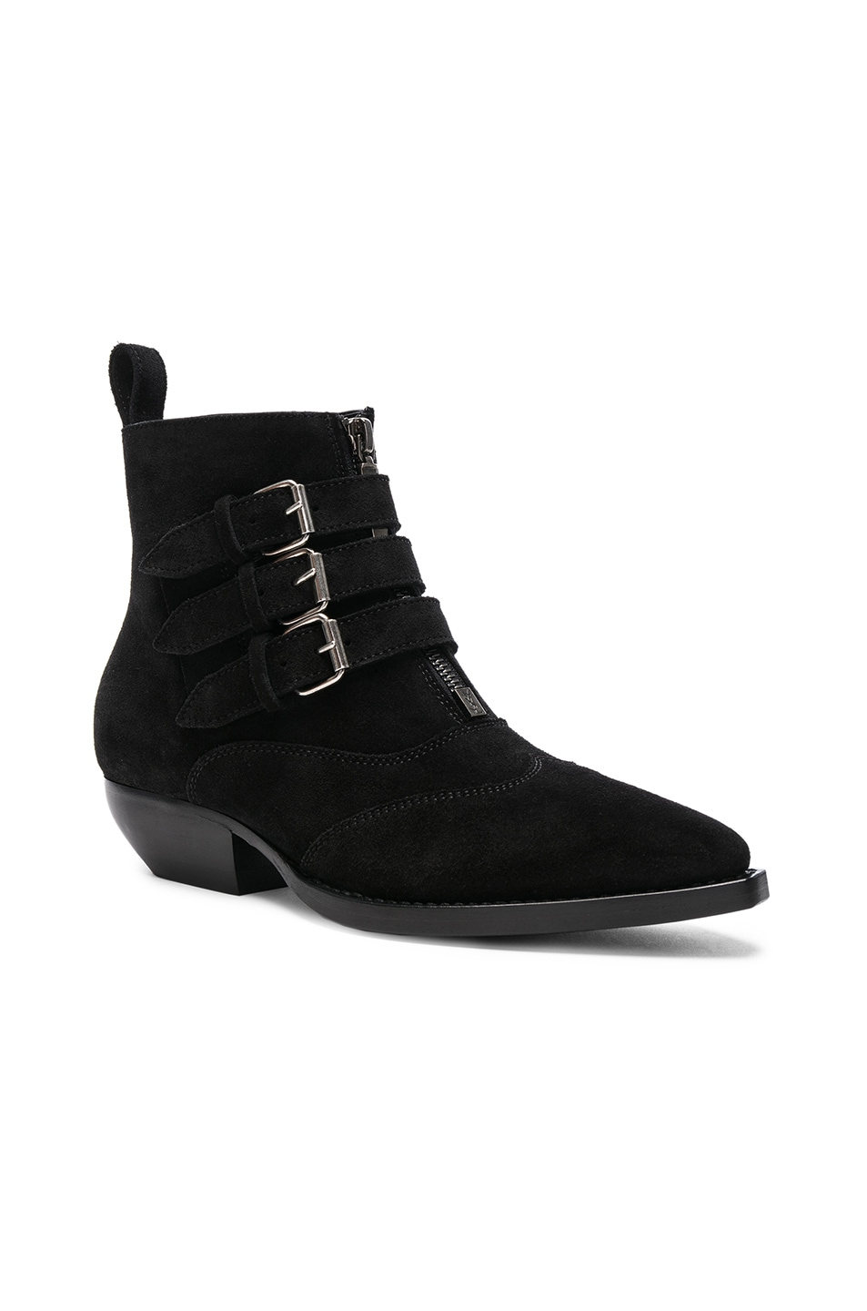 Image 2 of Saint Laurent Suede Theo Buckled Ankle Boots in Black