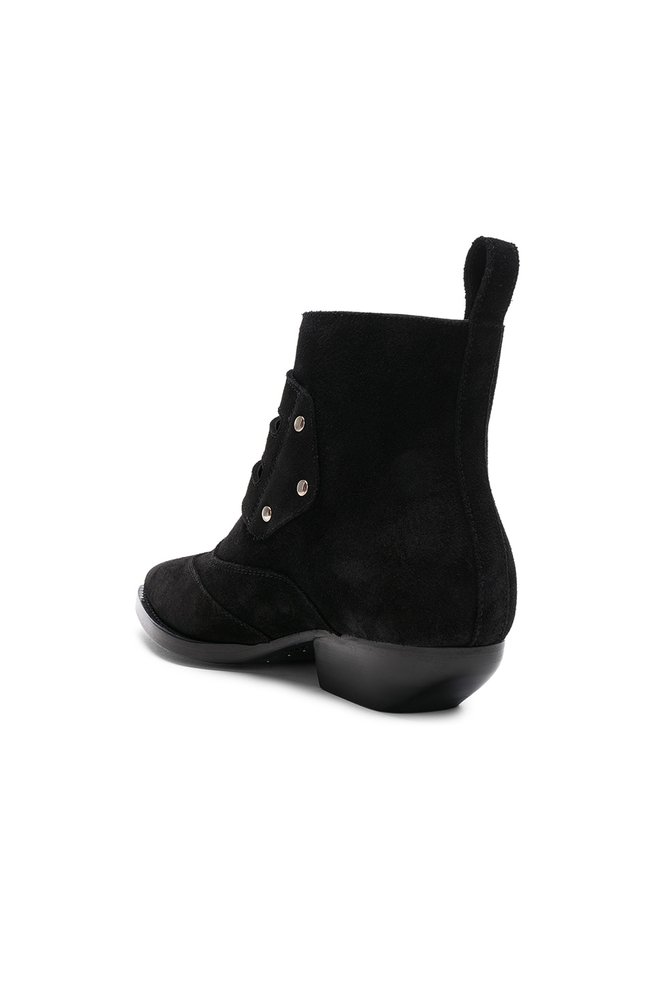 Image 3 of Saint Laurent Suede Theo Buckled Ankle Boots in Black