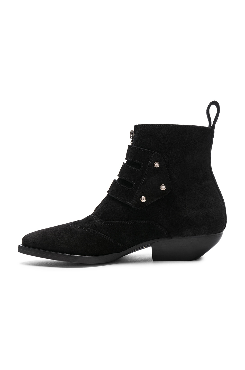 Image 5 of Saint Laurent Suede Theo Buckled Ankle Boots in Black