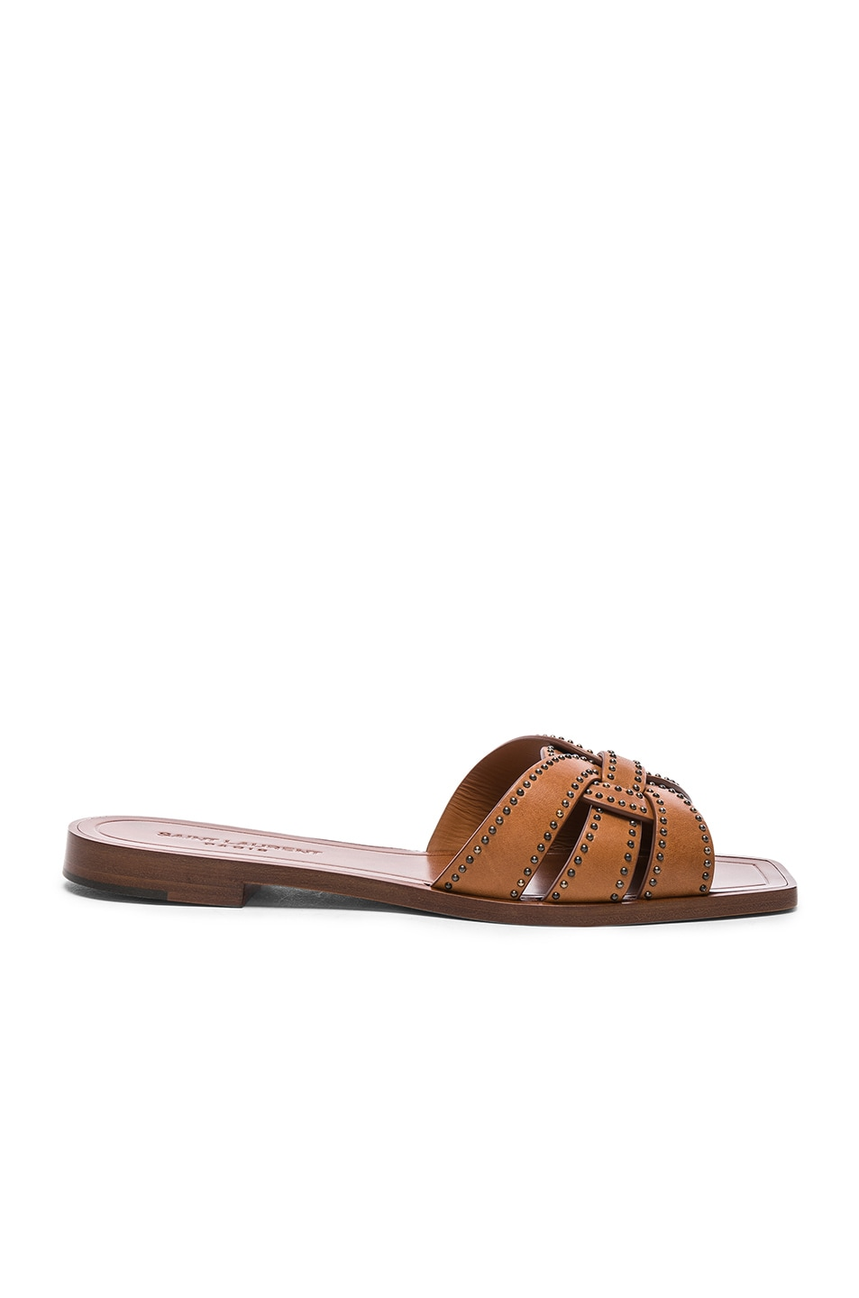 Image 1 of Saint Laurent Studded Leather Nu Pieds Slides in Amber