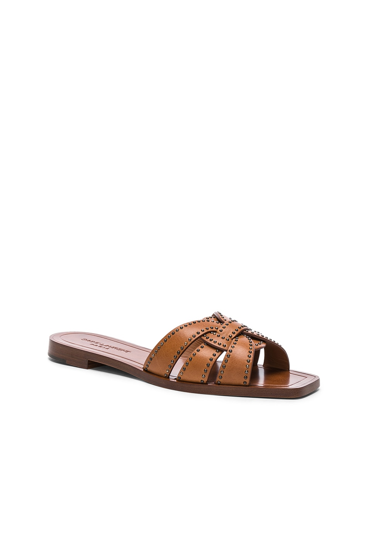 Image 2 of Saint Laurent Studded Leather Nu Pieds Slides in Amber