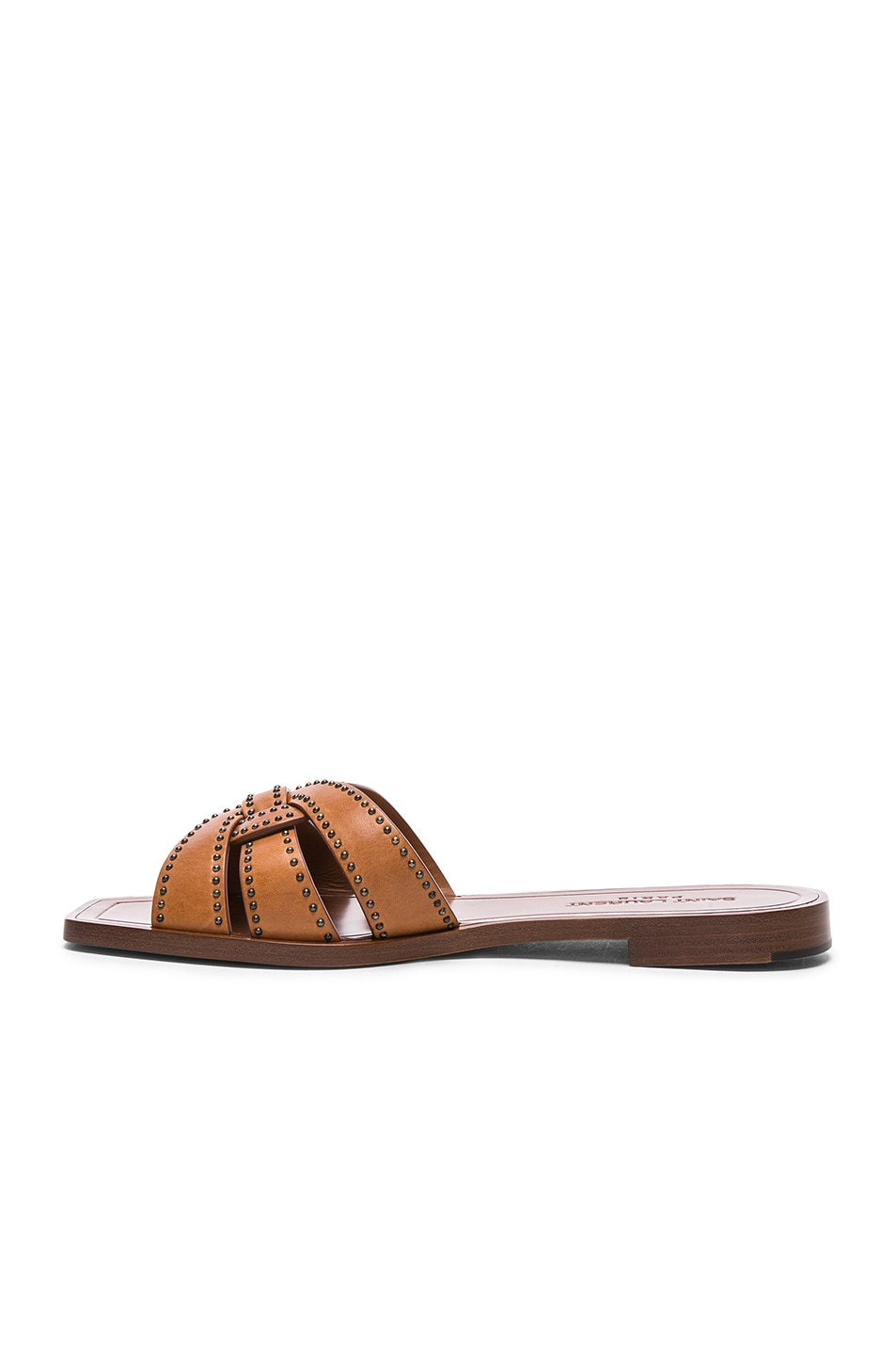 Image 5 of Saint Laurent Studded Leather Nu Pieds Slides in Amber