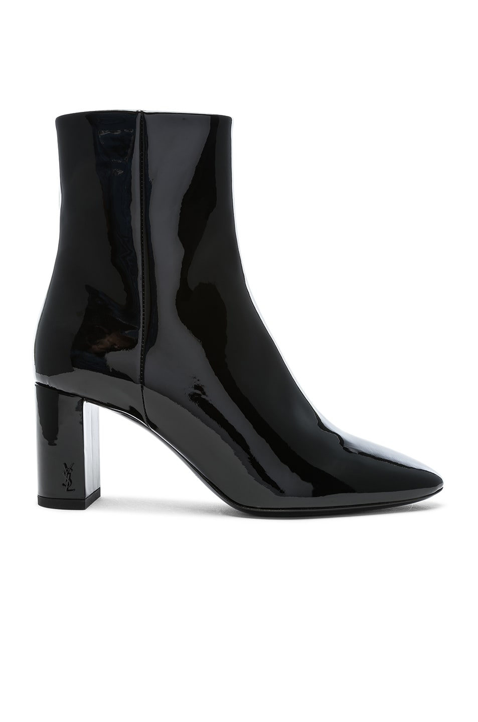 Image 1 of Saint Laurent Patent Leather Pin Lou Ankle Boots in Black