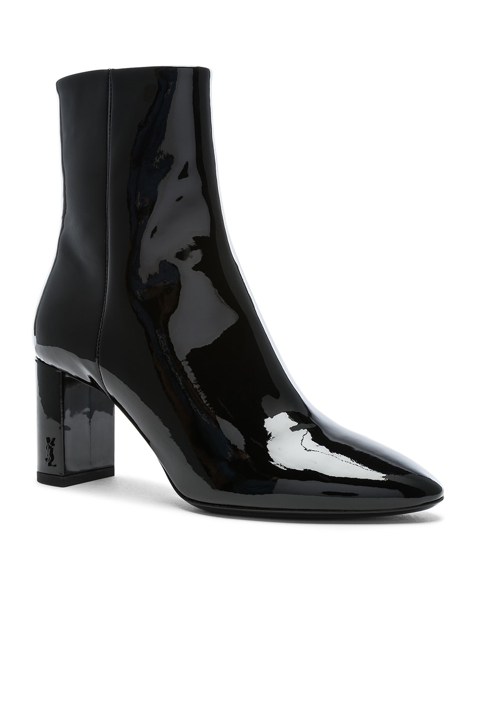Image 2 of Saint Laurent Patent Leather Pin Lou Ankle Boots in Black