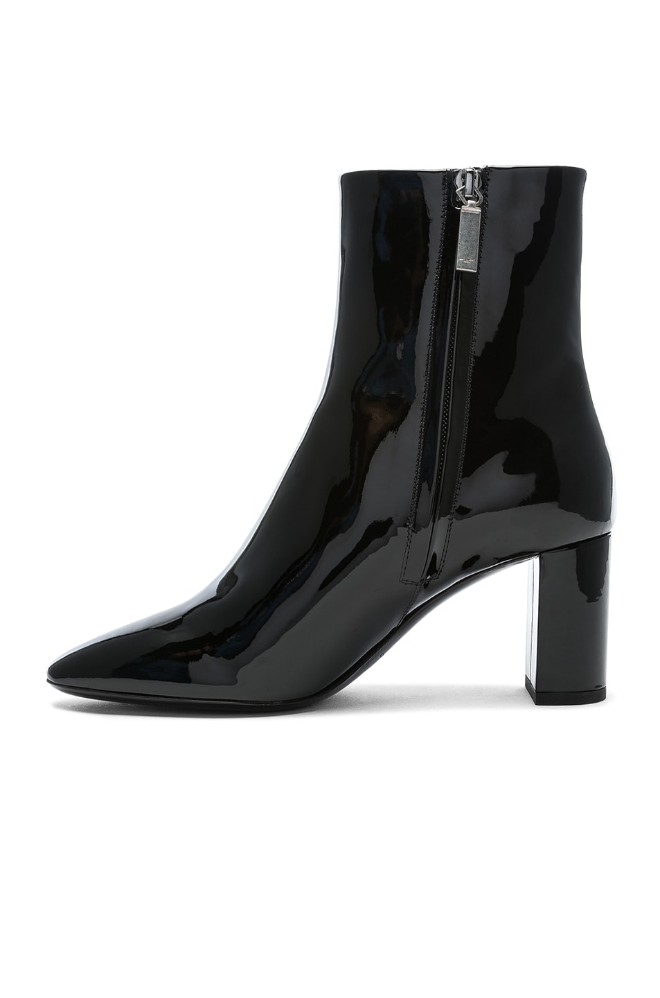 Image 5 of Saint Laurent Patent Leather Pin Lou Ankle Boots in Black