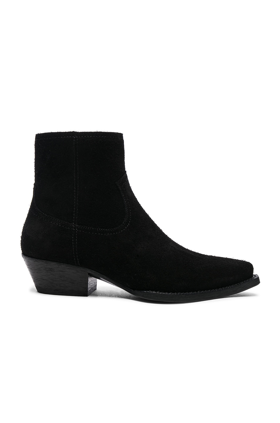 Image 1 of Saint Laurent Suede Lukas Western Boots in Black