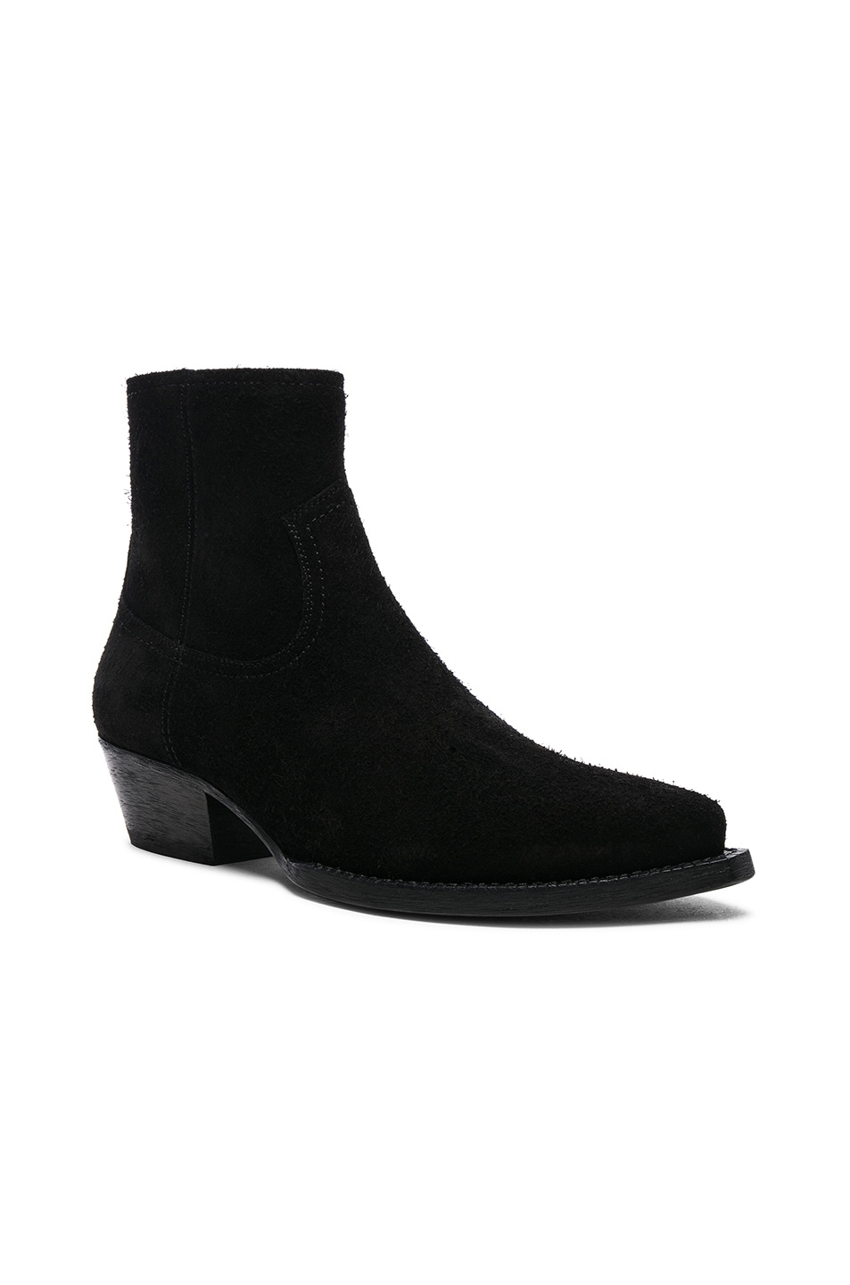 Image 2 of Saint Laurent Suede Lukas Western Boots in Black
