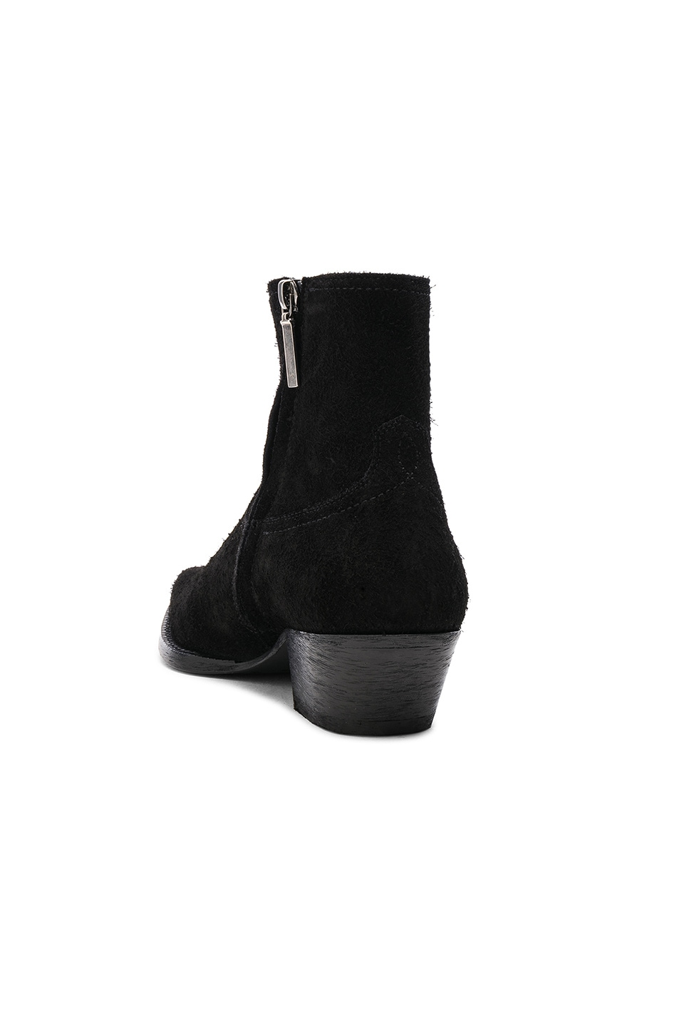 Image 3 of Saint Laurent Suede Lukas Western Boots in Black