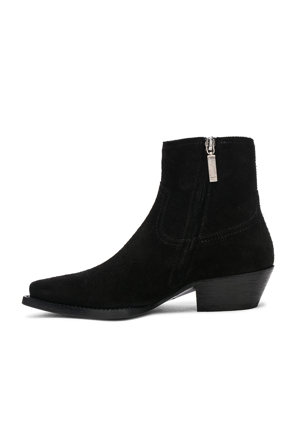 Image 5 of Saint Laurent Suede Lukas Western Boots in Black