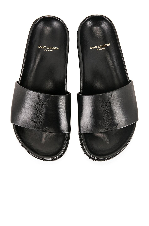 Image 1 of Saint Laurent Embroidered Leather Joan Slides in Black