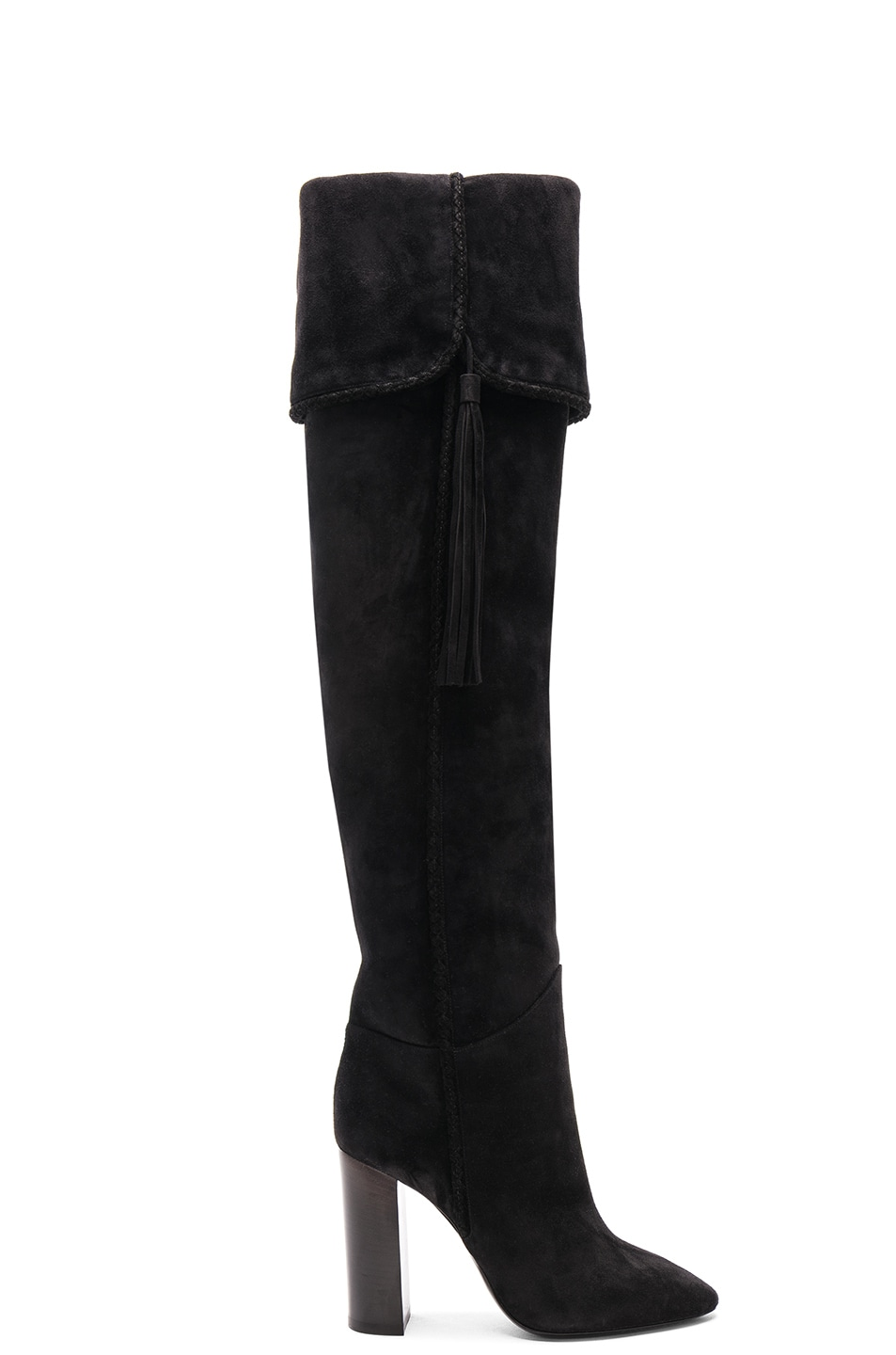 Image 2 of Saint Laurent Suede Meurice Tassel Slouchy Boots in Black