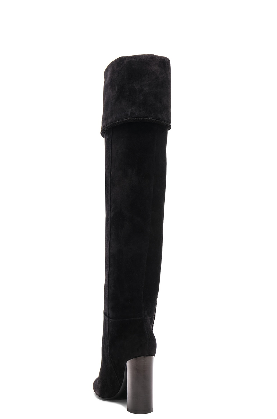 Image 4 of Saint Laurent Suede Meurice Tassel Slouchy Boots in Black