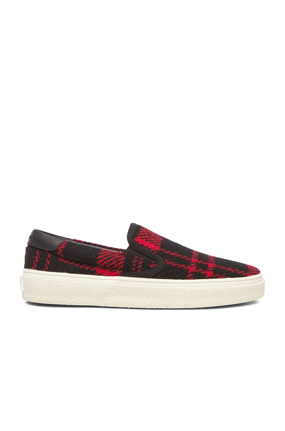 Image 1 of Saint Laurent Tweed Skate Slip-On Sneakers in Red & Black
