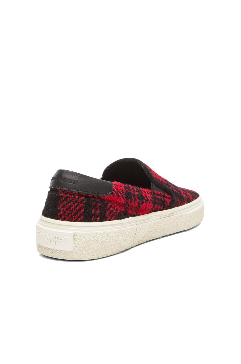 Image 3 of Saint Laurent Tweed Skate Slip-On Sneakers in Red & Black